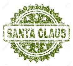 Santa Watermark Santa Claus Stamp Seal Watermark With Rubber Print Style Green