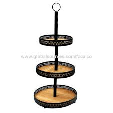 china decorative round metal wood 3 tier tray stand