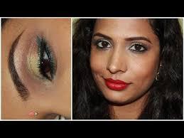 diwali 2016 makeup outfit indian party makeup peach green blue brown glitter makeup