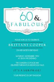 Teal And Fabulous 60th Birthday Invitation 50th Birthday