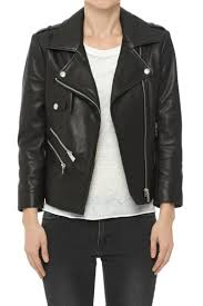 anine bing cropped leather jacket front cropped image
