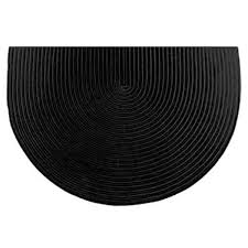 46 half round black solid color braided hearth rug