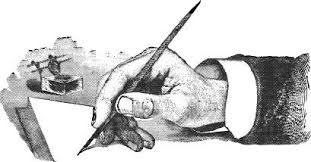 hand with pen and ink bottle