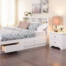Amazoncom  Prepac Monterey White Queen Storage Headboard Headboards Double Bed