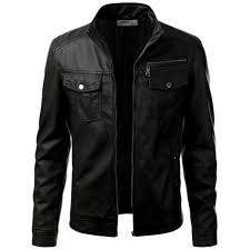 prime black polyurethane leather jacket for men
