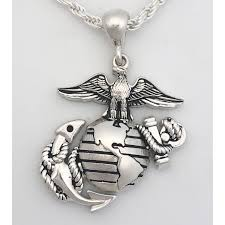 marine corps necklace eagle globe and anchor sterling silver pendant 1 inch tall loading zoom