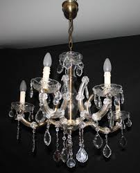 vintage marie therese chandelier 5 arm maria theresa ceiling light with glass clad arms glass central