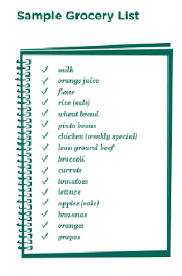 grocery list example sample grocery shopping list