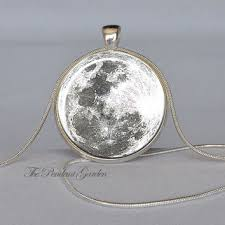 full moon pendant white gray silver