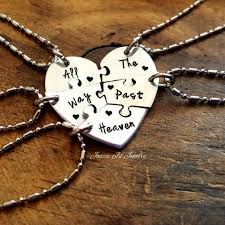 all the way past heaven five piece puzzle heart necklace set handstamped 5 split heart necklaces sisters best friends set family jewelry