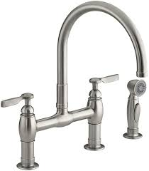 country kitchen column spout: kohler k   sn parq deck mount kitchen faucet with spray vibrant polished nickel touch on kitchen sink faucets amazoncom