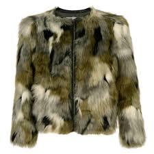 miss grant girls military green faux fur coat