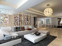 Model Living Room Design Living Room Brown Tile Flooring White Sofa Chandeliers Dark Gray