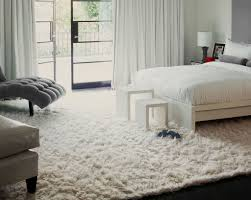 Decorating: Wide White Shag Rug For Modern White Bedroom - The Pros ...