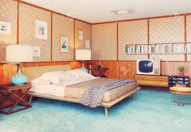 Schöne Vintage Schlafzimmer Interieur Holzwände Konzept 3d