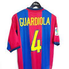 1998/99 GUARDIOLA #4 Barcelona Vintage Nike Home Football Shirt (S) -  Football Shirt Collective