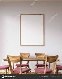Weiße Wand Esszimmer Einrichtung Mit Einem Holztisch Rosa