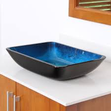 Glass Sink Bathroom Elite 1408 Rectangle Artistic Blue Tempered Glass Bathroom Sink