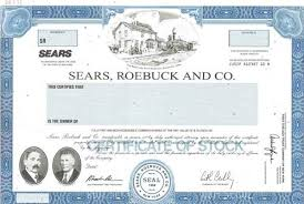 Stock Certificats Sears Roebuck And Co Specimen Stock Certificate