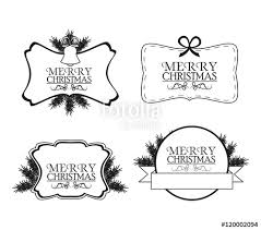 Labels And Frames With Leaves Merry Christmas Cards Icon Black And