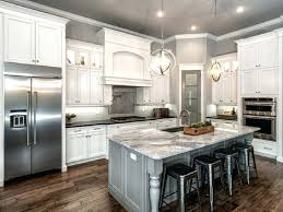 Classic L Shaped Kitchen Remodel With White Cabinet And Gray Island Marble  Countertop White Cabinets With Marble Countertops W82