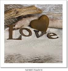 Free Art Print Of Word Love And Heart Word Love And Heart In Sand
