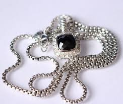 david yurman petite albion 7mm black onyx and diamonds necklace 17 inch