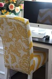 two fabric reupholstered chair could be fun for desk chair makeover