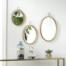 mirror wall decor set of three 3 piece oval metal frame sets