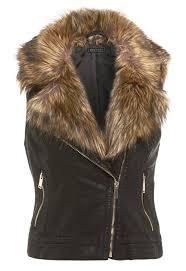 womens fur jacket biker waist leather coat black