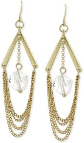 kenneth cole new york gold tone crystal drop chain chandelier earrings