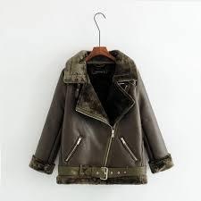2018 single fur fashion girls long leather jacket coat terry locomotive lapel top warm deer skin lamb jacket the knight coat slim from rainy0705