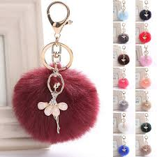 crystal flower fairy keyring furry ball pendant purse bag key ring chain gifts