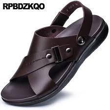 open toe designer water waterproof size 45 beach brown italian 46 men sandals leather summer shoes fashion runway strap 2018 gladiator microfiber pu mens