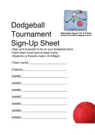 Tournament Sign Up Sheets Dodgeball Tournament Sign Up Sheet Printable Pdf Download