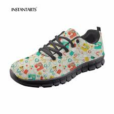 Sneakers With Yarn Design Us 28 59 35 Off Instantarts High Quality Women Spring Autumn Flats Shoes Cute Cartoon Knitting Yarn Design Breathable Mesh Flats Female Sneakers In