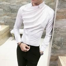 Mens Design Dress Shirts Us 18 13 35 Off Autumn Men Shirt Fashion 2019 Korean Slim Fit Dress Shirts Mens Long Sleeve Front Fold Design Night Club Tuxedo Shirt Men 3xl M In