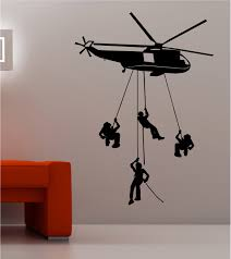 Wall Art Army Troops Helicopter Wall Art Quote Sticker Vinyl Kids Bedroom