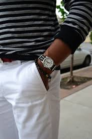 17 best images about men s bracelet men s leather a fashion look by lookmazing featuring asos stripe long sleeve t shirt in pique jersey oxford pocket off white skinny chinos sperry top sider watch