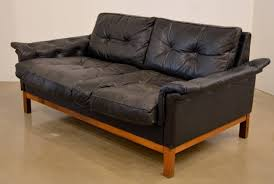 mid century modern mid century black tufted leather loveseat danish for