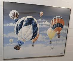 this stunning vintage modern oil painting by manufacturer lee reynolds features numerous hot air balloons coasting