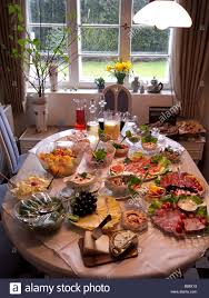 kitchen table with food. Display Of Buffet Food On A Kitchen Table With F