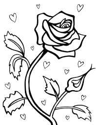 Printable Red Rose Valentines Coloring Pages