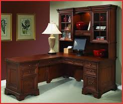 wooden l shaped desk with hutch and drawer with peru handle plus computer stand for home