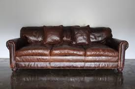 rare gorgeous ralph lauren scroll arm 3 seat sofa in brown cigar leather 1900 00