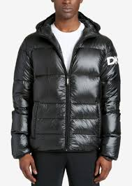 dkny men s mid length hooded puffer jacket