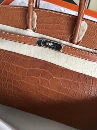 Model: Hermes Birkin 35 Stamp: Q Color: Fauve Leather: Special Alligator  Mississippiensis Barenia Hardware: Palladium Condition: New Kept Unused  Receipt: ...