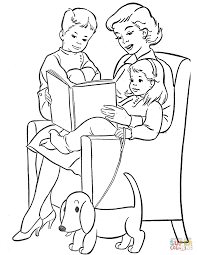 Small Picture Mom Reading to Children coloring page Free Printable Coloring Pages