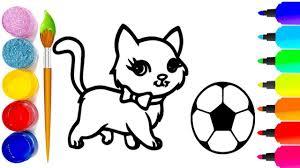 Bé tập vẽ tranh và tô màu con mèo - hướng dẫn bé tập tô màu con