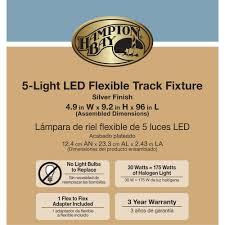 Hampton Bay 5 Light Led Flexible Track Kit Hampton Bay 8 Ft Silver 5 Light Integrated Led Flex Track Lighting Kit